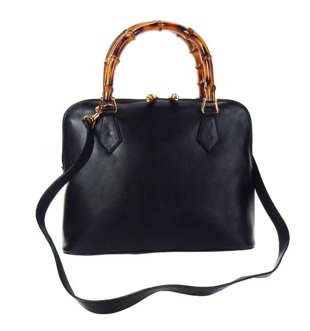 Item - Double Bamboo Tote Black Lambskin Leather Cross Body Bag