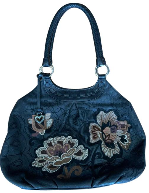 Item - Embroidery Leather Black Brown Flowers Satchel