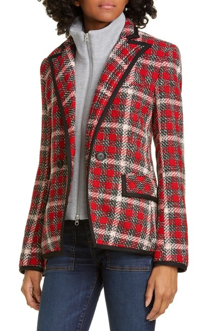 Item - Red Multi Harriet Cutaway Blazer Jacket Size 4 (S)