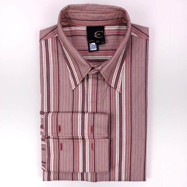 Item - Red Striped 42 Large French Cuffs Mens Italy Size C Shirt