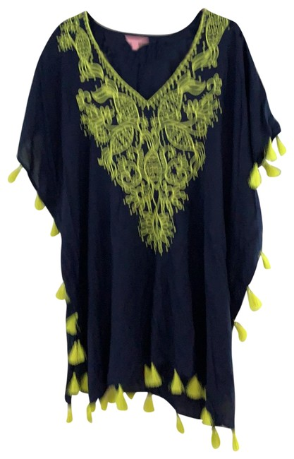 Item - Navy Blue with Yellow Unknown Cover-up/Sarong Size 12 (L)