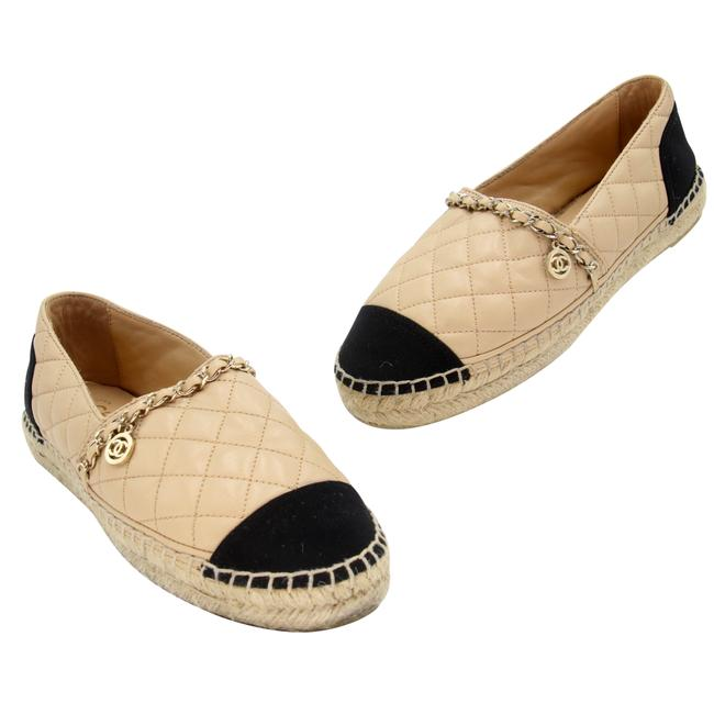 Item - Beige Quilted Leather Chain Espadrille Flats Size US 5 Regular (M, B)