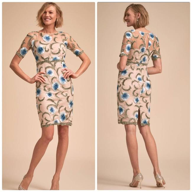 Item - Tan Anthropologie Adrienne Serenity Floral Cocktail Dress Size 12 (L)
