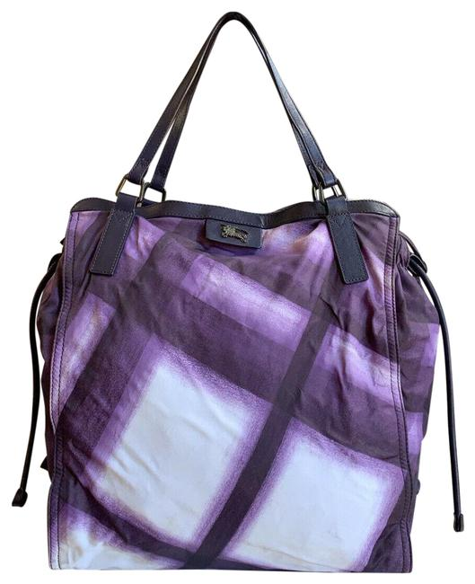 Item - Bag Buckleigh Packable Nova Check Purple Nylon & Cow Leather Tote