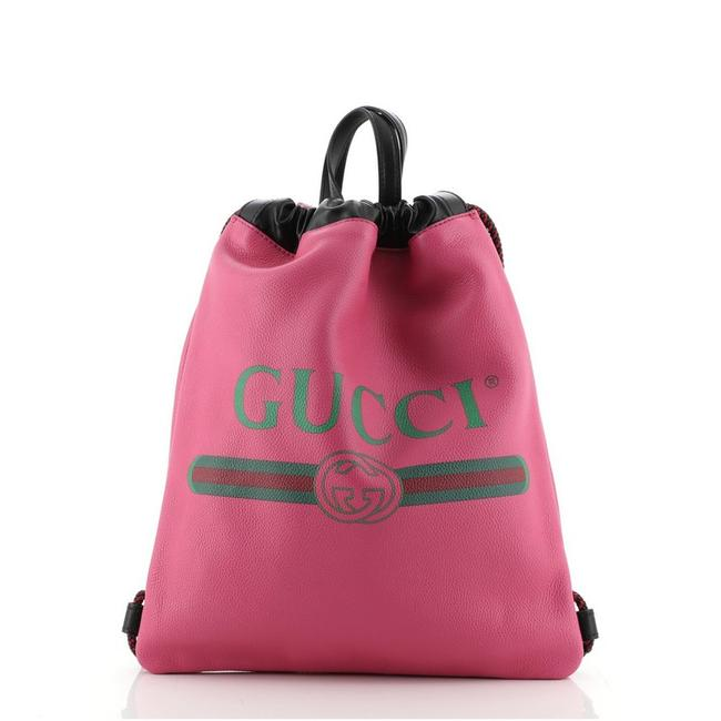 Item - Drawstring Logo Printed Medium Pink Leather Backpack