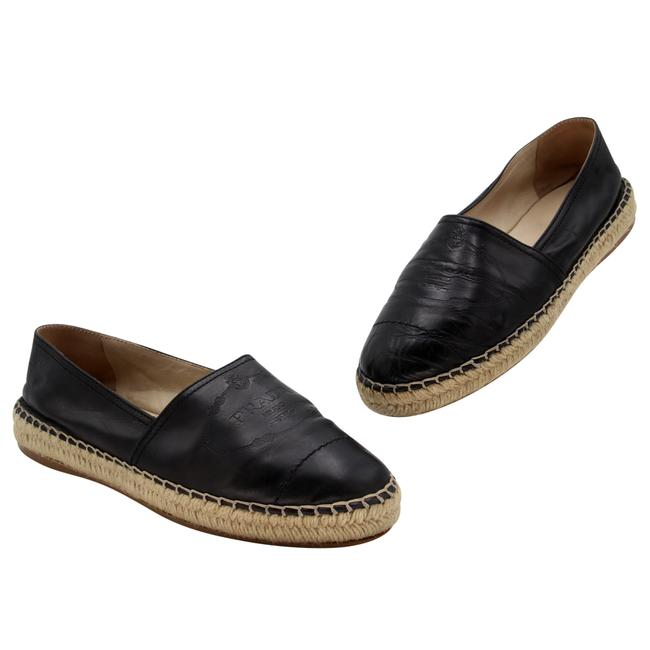 Item - Black White Embossed Leather Logo Leather Flats Size US 10 Regular (M, B)