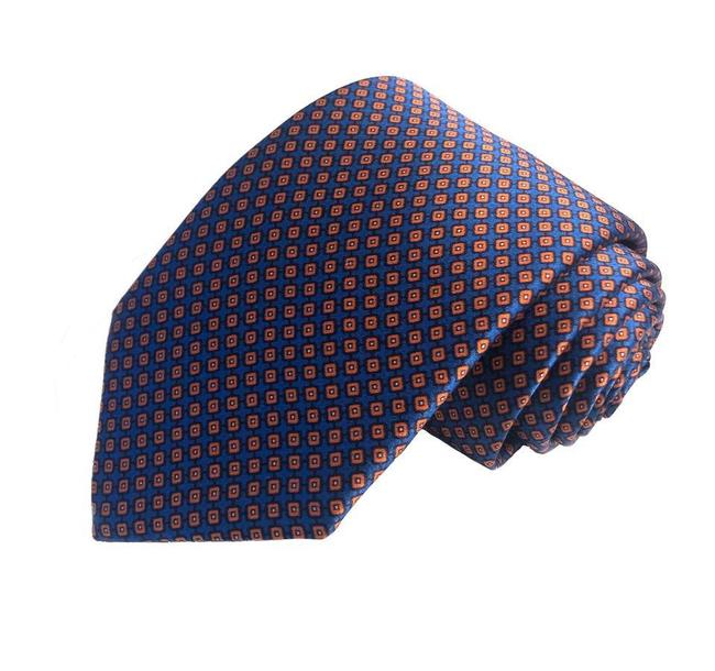 Item - Blue Orange Mens Silk Navy Diamond Geometric Tie/Bowtie