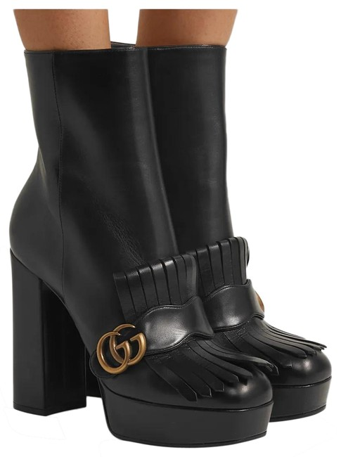 Item - Black Marmont Gg Fringe Ankle Boots/Booties Size EU 38.5 (Approx. US 8.5) Regular (M, B)