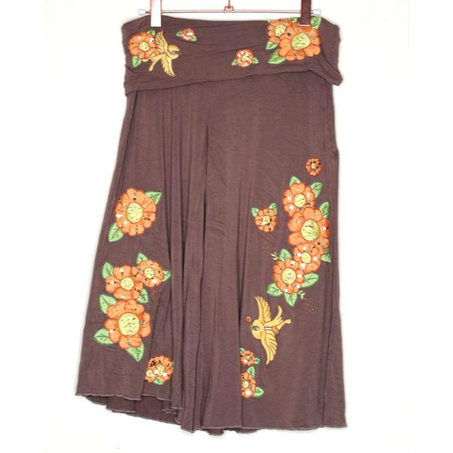Item - Brown L Embroidered Trapeze High Water Yoga Pants Capris Size 12 (L, 32, 33)