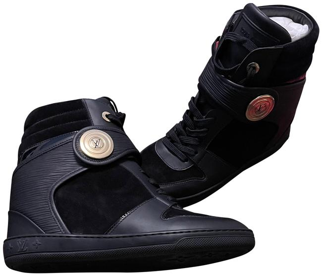 Item - Black Epi Leather and Suede High-top Wedges Sneakers Size EU 39 (Approx. US 9) Regular (M, B)