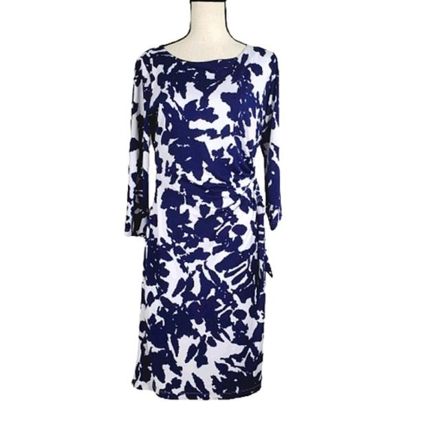 Item - Blue White 3/4 Sleeve Printed Short Casual Dress Size 6 (S)