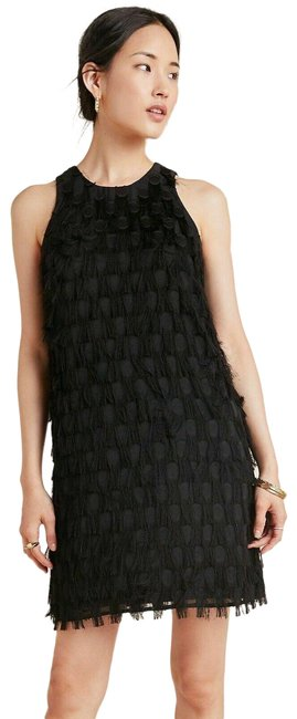 Item - Black New Roxie Textured Feathered Fringe Dot Shift Mini Short Night Out Dress Size 4 (S)