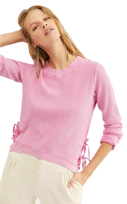 Item - Pink New Fp One Cropped Interlaken Lace Up Thermal Tee Shirt Size 6 (S)
