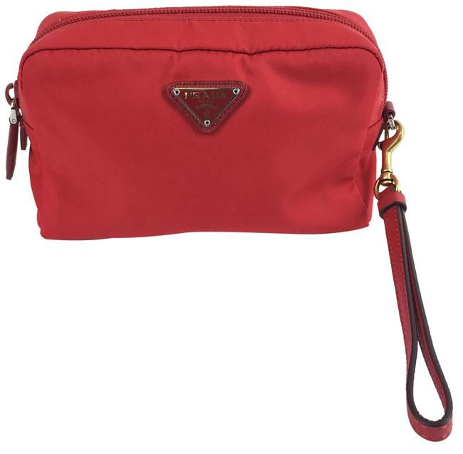 Item - Red Triangular Logo Plaque Cosmetic Bag