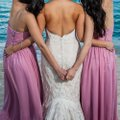 Dusty Rose Polyester Floor Length Strapless Corset Tie Back #1421 Formal Bridesmaid/Mob Dress Size 0 (XS) Image 1