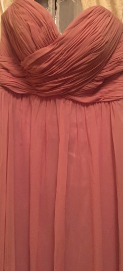 Dusty Rose Polyester Floor Length Strapless Corset Tie Back #1421 Formal Bridesmaid/Mob Dress Size 0 (XS) Image 8