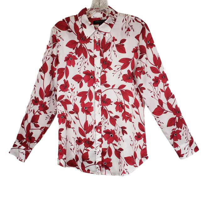 Item - Red Dillon White Floral Shirt S Button-down Top Size 6 (S)