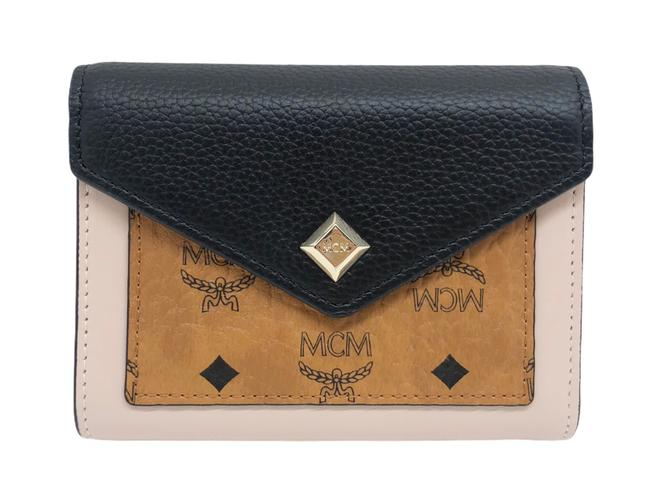 Item - Black/ Beige/ Cognac Tri-fold Small Leather Wallet
