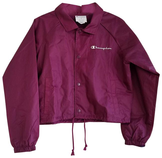 Item - Purple Womens Snap Front Cropped Jacket Maroon Medium Activewear Size 10 (M)