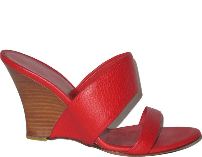 Item - Red Leather Wedge 6-1/2 B Made In Italy 92946 B80 Sandals Size US 6.5 Regular (M, B)
