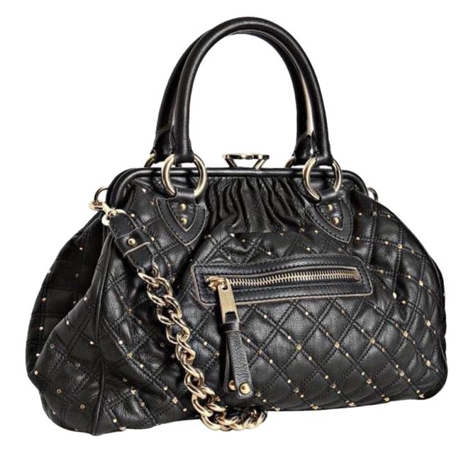 Item - Stardust Stam In Black with Gold Studs Leather Satchel