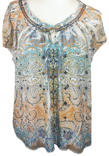 Item - Peach Blue XL World~embroidered Chiffon Peasant Blouse Size 16 (XL, Plus 0x)