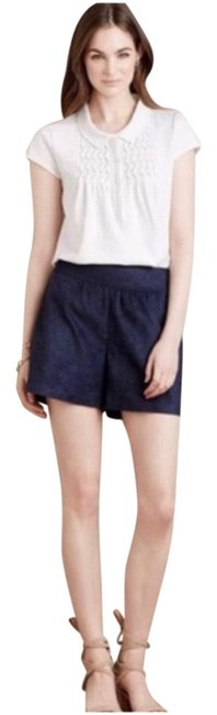 Item - Navy Vegan Leather Perforated Shorts Size 6 (S, 28)