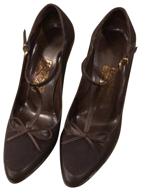 Item - Dark Brown Leather and Suede Mary Jane Pumps Size US 6.5 Regular (M, B)