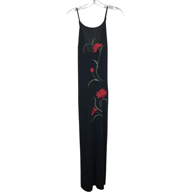 Item - Black Floral Embroidered Maxi Cocktail Dress Size 10 (M)