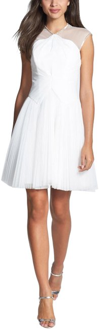 Item - White Trixxy Illusion Yoke Pleat Tulle Mid-length Night Out Dress Size 8 (M)