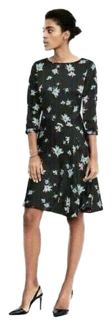 Item - Black Floral Watercolor Print Crepe De Chine Short Work/Office Dress Size 0 (XS)