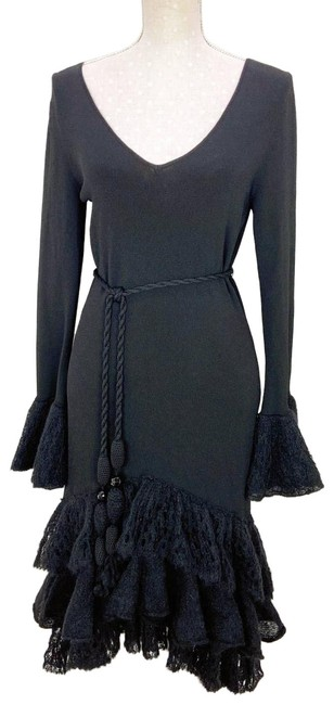 Item - Black M Mohair Trim Mid-length Cocktail Dress Size 8 (M)