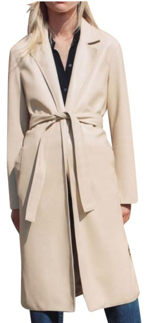 Item - Beige Faux Leather Belted Sand Coat Size 8 (M)