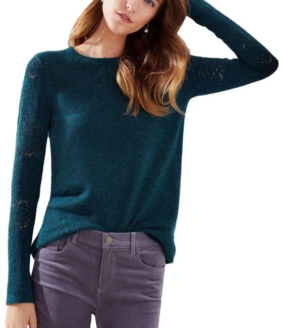 Item - Teal Blue Relaxed Pointelle 437611 Crew Neck Oversized Long Green Sweater