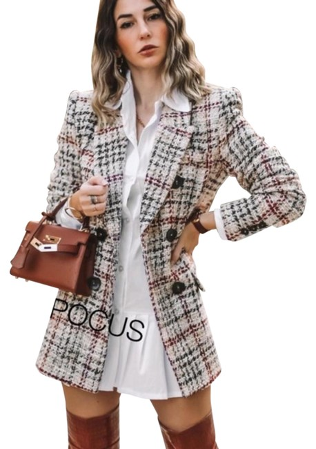 Item - Red Textured Plaid Blazer Double Breasted Tweed Coat Size 6 (S)
