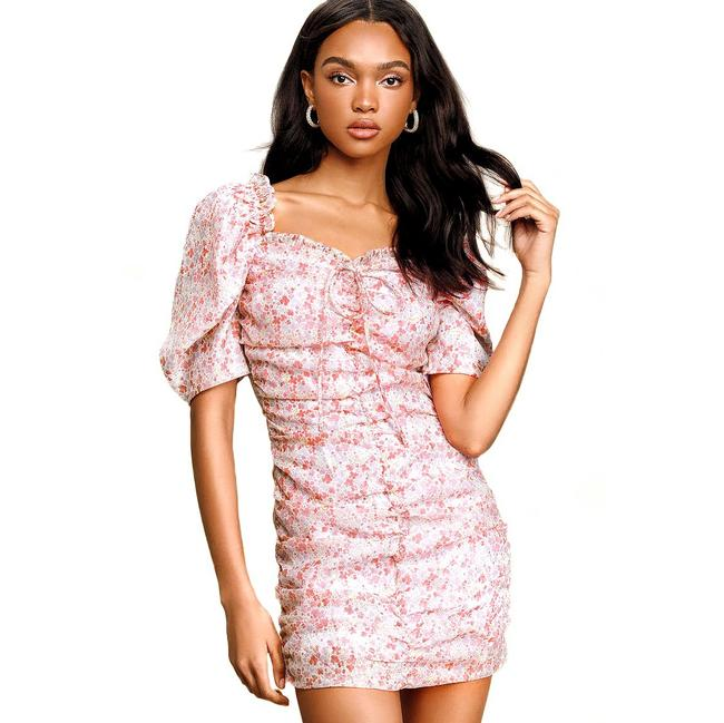 Item - Lulu's Tinleigh Pink Floral Print Ruched Puff Sleeve Bodycon Short Cocktail Dress Size 8 (M)