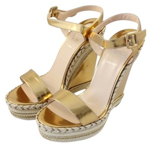 Christian Louboutin Metallic Gold Woven Gold/Bronze Wedges