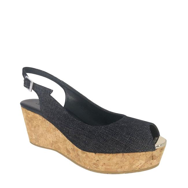 Item - Blue Denim Praise Open Toe Slingback Wedges Size US 6 Regular (M, B)