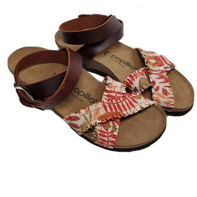 Item - Brown Red Curacao Floral Fabric Wedge Sandals Size US 7 Narrow (Aa, N)