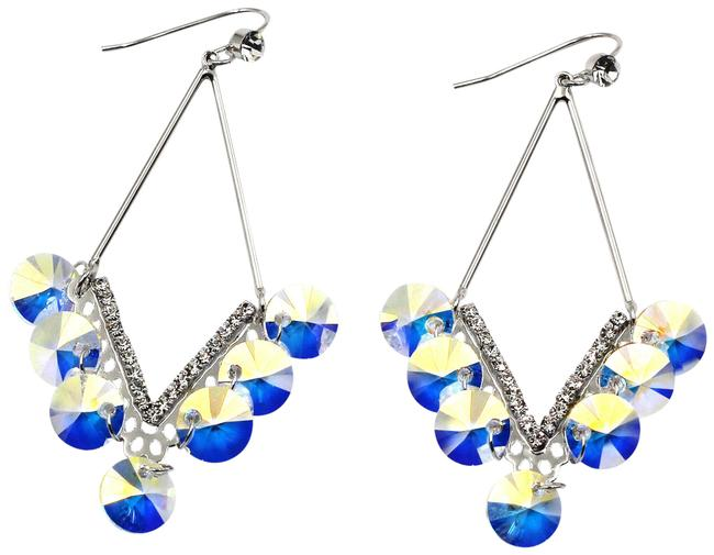 Item - Silver Long Temperament Swarovski Crystal Earrings