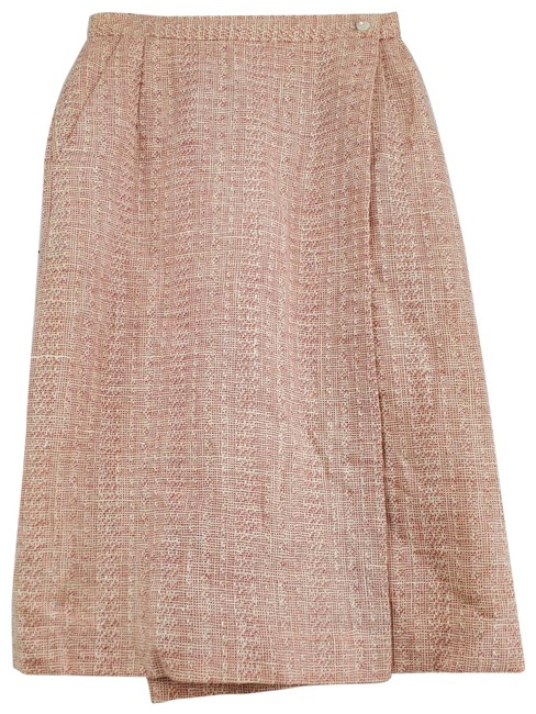 Item - Pink Wool Tweed Midi Wrap Skirt Size 10 (M, 31)