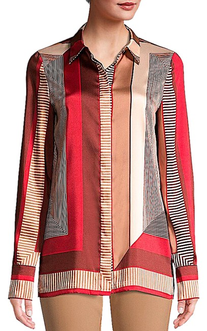 Lafayette 148 New York Carnelian Multi with Tag Eric Prism-print Blouse Button-down Top Size 8 (M) Lafayette 148 New York Carnelian Multi with Tag Eric Prism-print Blouse Button-down Top Size 8 (M) Image 1