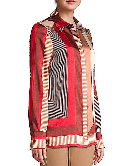 Lafayette 148 New York Carnelian Multi with Tag Eric Prism-print Blouse Button-down Top Size 8 (M) Lafayette 148 New York Carnelian Multi with Tag Eric Prism-print Blouse Button-down Top Size 8 (M) Image 5