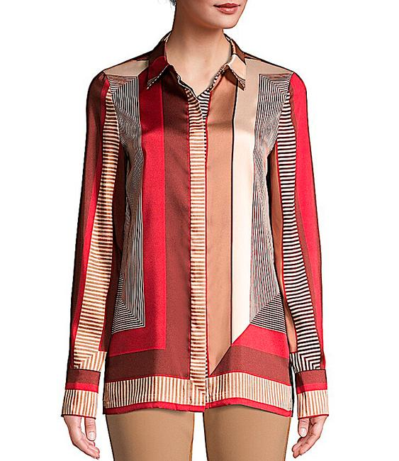 Lafayette 148 New York Carnelian Multi with Tag Eric Prism-print Blouse Button-down Top Size 8 (M) Lafayette 148 New York Carnelian Multi with Tag Eric Prism-print Blouse Button-down Top Size 8 (M) Image 7