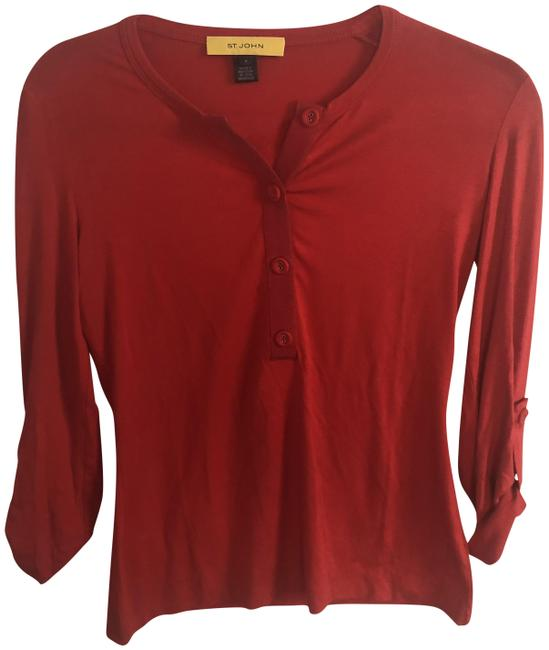 Item - Red/Orange Henley Stretch Blouse Size Petite 4 (S)