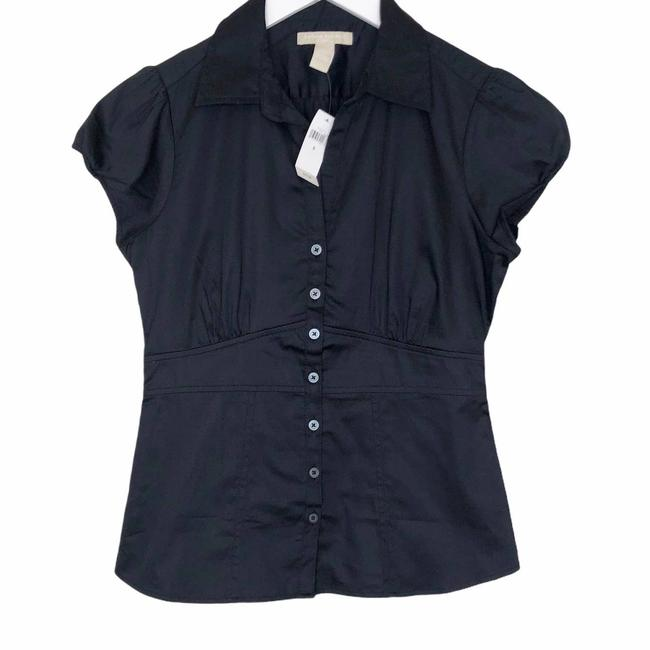 Item - Black Cap Sleeve Button Front Button-down Top Size 6 (S)