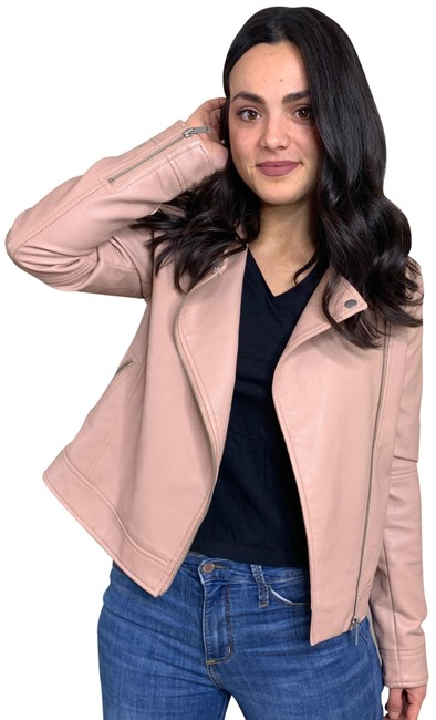 Item - Pink Faux Leather Moto Jacket Size 4 (S)