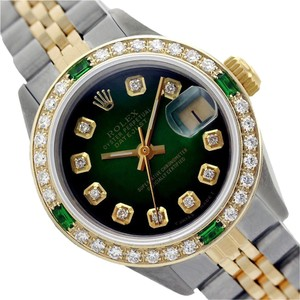 Rolex WOMENS ROLEX DATEJUST GREEN VIGNETTE DIAMOND & EMERALD TWO TONE WATCH