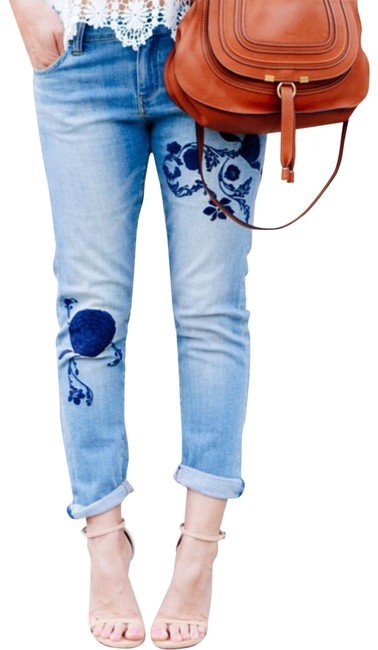 Item - Blue Medium Wash Pilcro & The Letterpress Hyphen Embroidered Mid Skinny Jeans Size 2 (XS, 26)