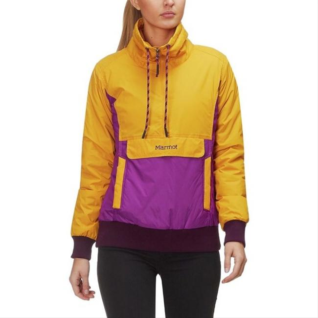 Item - Yellow and Purple Colorblock 74 Collection Retro Lynx Anorak Hooded Jacket Insulated Coat Size 8 (M)